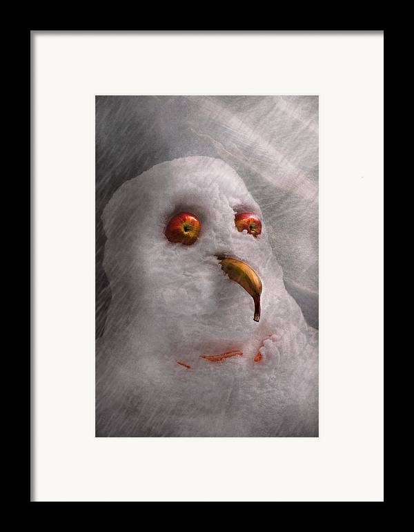 Winter Framed Print featuring the photograph Winter - Snowman - What Are You Looking At by Mike Savad
