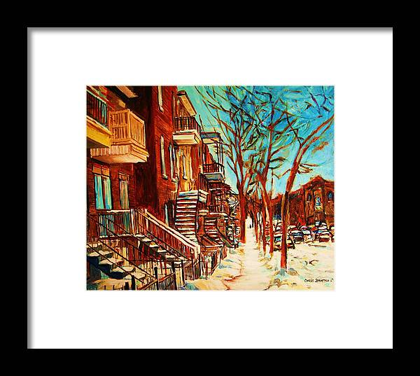 Verdun Paintings By Montreal Street Scene Artist Carole Spandau Framed Print featuring the painting Winter Staircase by Carole Spandau