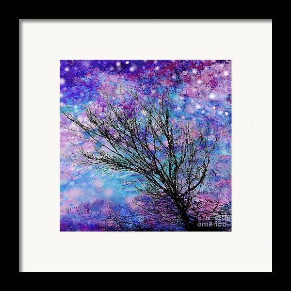 Starry Framed Print featuring the digital art Winter Starry Night Square by Ann Powell