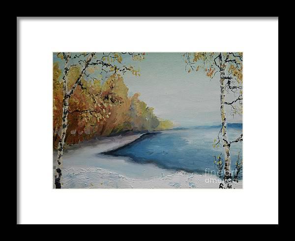Raija Merila Framed Print featuring the painting Winter Starts At Kymi River by Raija Merila