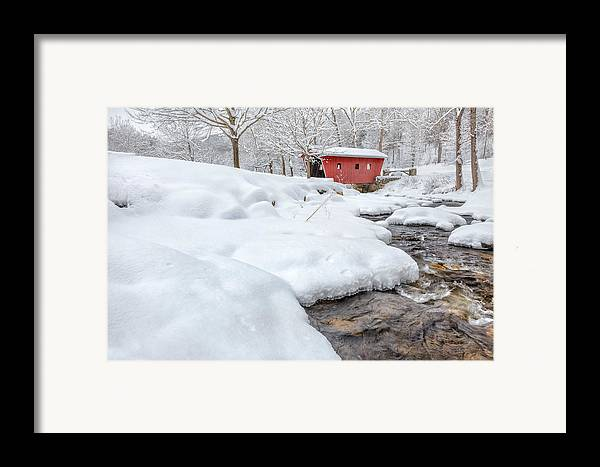 Covered Bridge Framed Print featuring the photograph Winter Stream by Bill Wakeley