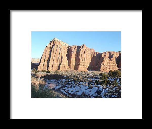 Landscapes Framed Print featuring the photograph Winter Stream In Cathedral Valley by Brian Shaw