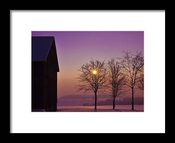 Winter Framed Print featuring the photograph Winter Sunset by Aged Pixel