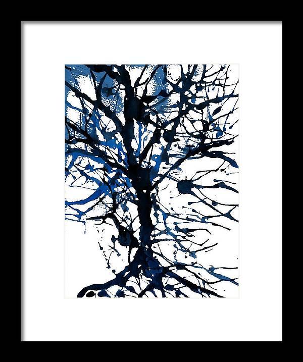 Abstract Framed Print featuring the digital art Winter Tree by Joseph Ferguson