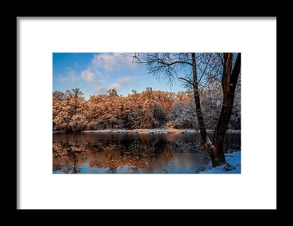 Zegrze Framed Print featuring the photograph Winter Trees Lake Reflected by Julis Simo