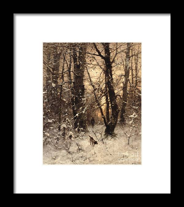 Winter Framed Print featuring the painting Winter Twilight by Ludwig Munthe