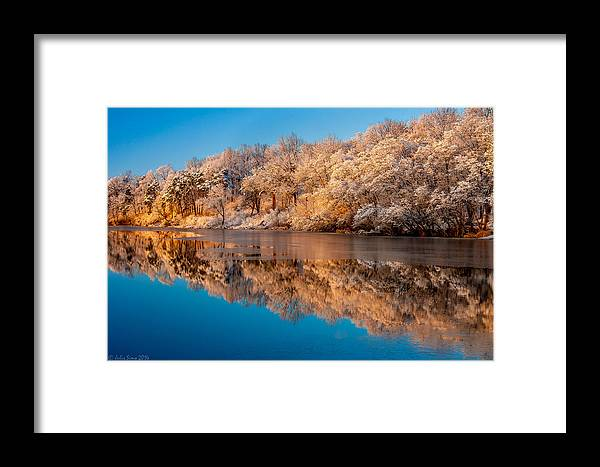 Zegrze Framed Print featuring the photograph Winter Water Reflections by Julis Simo