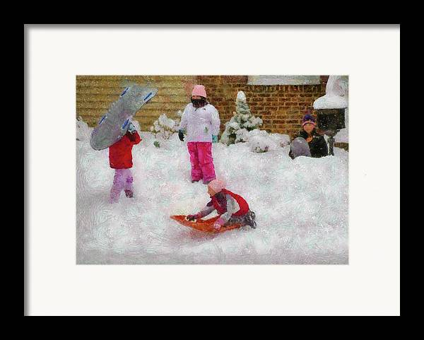 Snow Framed Print featuring the photograph Winter - Winter Is Fun by Mike Savad