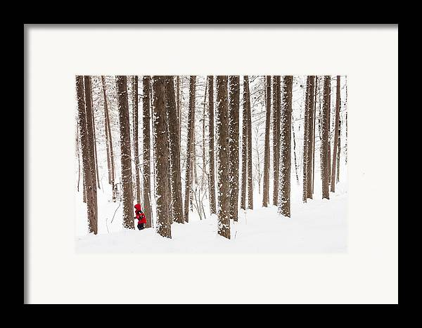 north Woods Snow snowy Woods winter Woods duluth lake Superior Winter fresh Snow greeting Cards amity Woods lester Park child In Landscape childhood Wonder winter Wonderland Framed Print featuring the photograph Winter Frolic by Mary Amerman