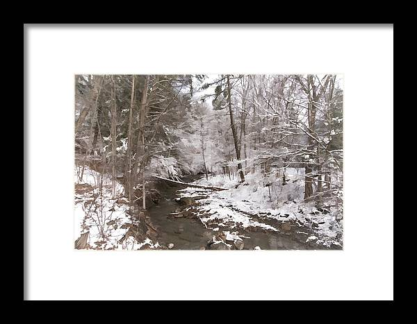 Snow Framed Print featuring the photograph Winter's Country Stream by Ray Summers Photography