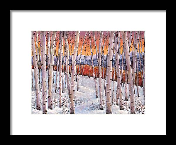 Autumn Aspen Framed Print featuring the painting Winter's Dream by Johnathan Harris