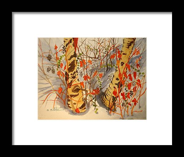 Landscape Framed Print featuring the painting Winter's Paintbrush by Sandra Stone