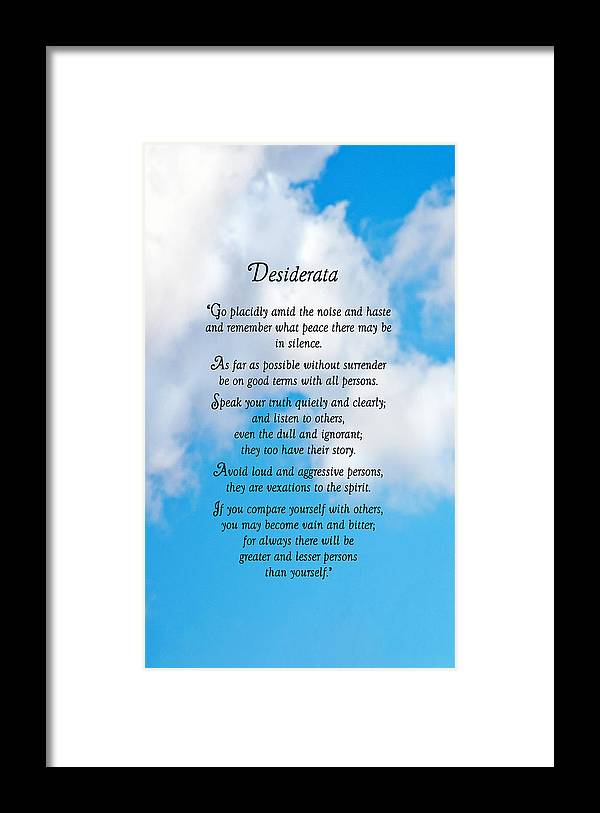 Desiderata Framed Print featuring the photograph Wisdom From Above by Donna Proctor