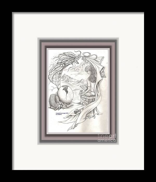 Sketch Framed Print featuring the drawing Wisdom In The Valley by Rosie R Carrillo