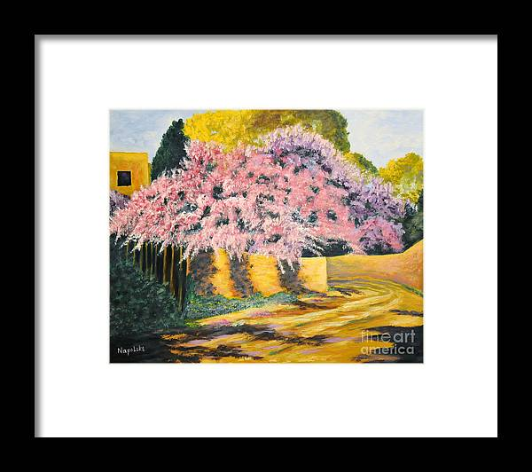 Wisteria Tree Framed Print featuring the painting Wisterias Santa Fe New Mexico by Barney Napolske