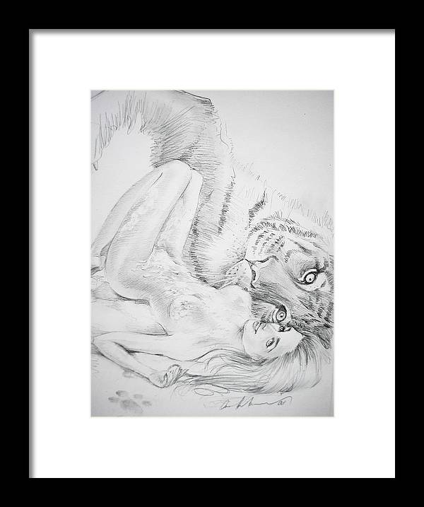 Framed Print featuring the drawing With Love From Russia by Oksana Franklin