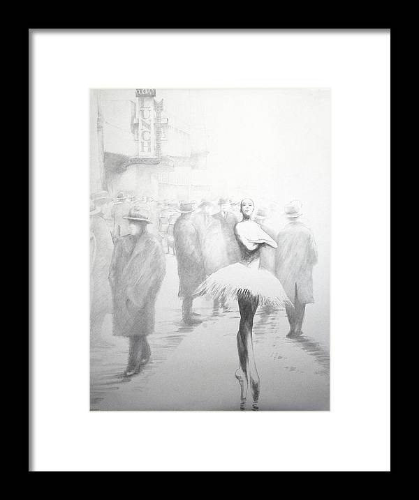 Ballet Dancer Inner- City Figure Drawing Framed Print featuring the drawing Within A Forest Dark by Jea DeVoe
