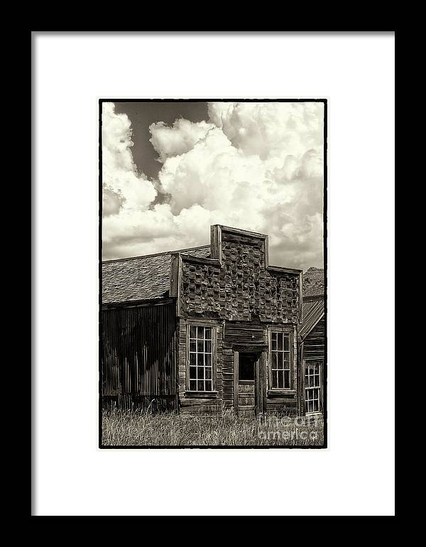 Black & White Framed Print featuring the photograph Withstanding The Years by Sandra Bronstein