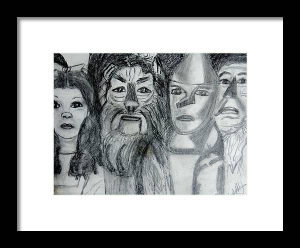 Fantasy Framed Print featuring the drawing Wizard Of Oz Friends by Jo-Ann Hayden