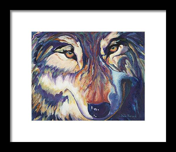Wolf Framed Print featuring the painting Wolf by Dale Bernard