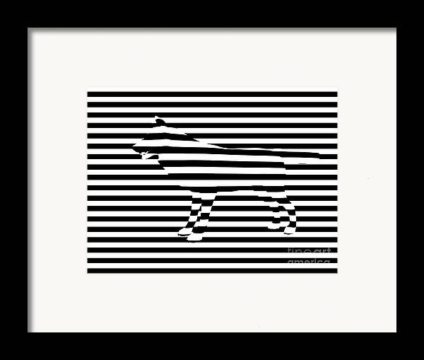 Abstract Framed Print featuring the painting Wolf Optical Illusion by Pixel Chimp