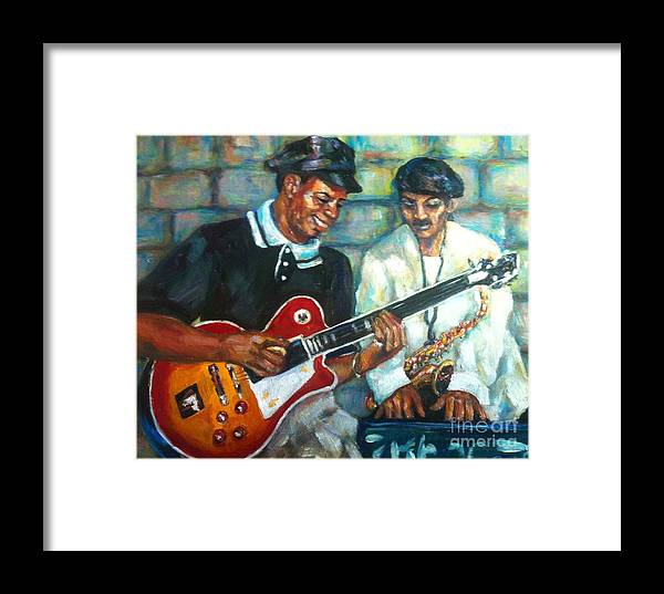 Guitar Framed Print featuring the painting Wolfman by Beverly Boulet