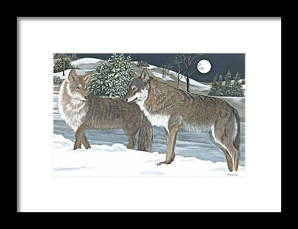 Out For The Night Framed Print featuring the pastel Wolves by Sally Evans