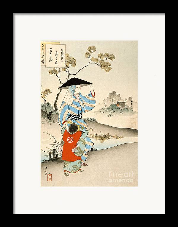 Japanese Framed Print featuring the painting Woman And Child by Ogata Gekko