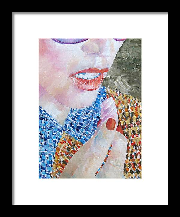 Woman Framed Print featuring the painting Woman Eating Marshmallow- Oil Portrait by Fabrizio Cassetta