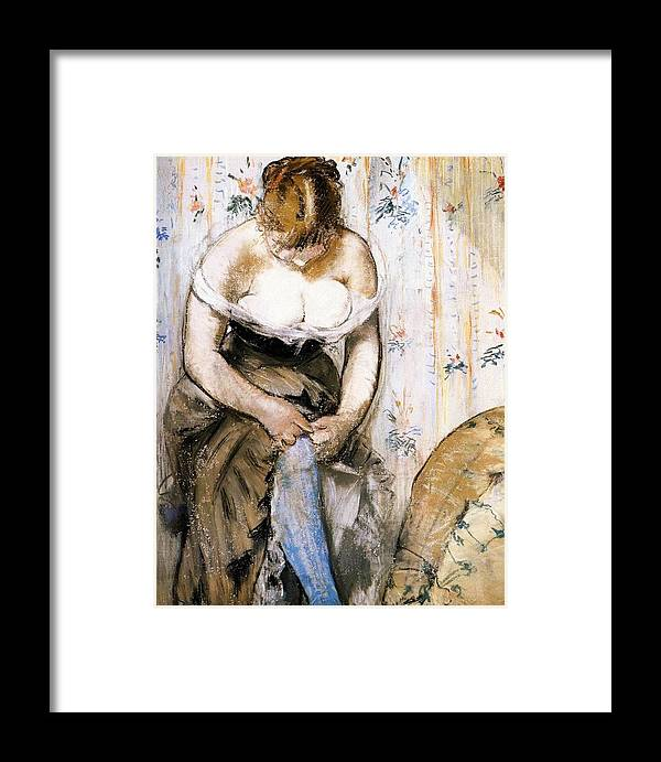 1879 Framed Print featuring the painting Woman Fastening Her Garter by Edouard Manet