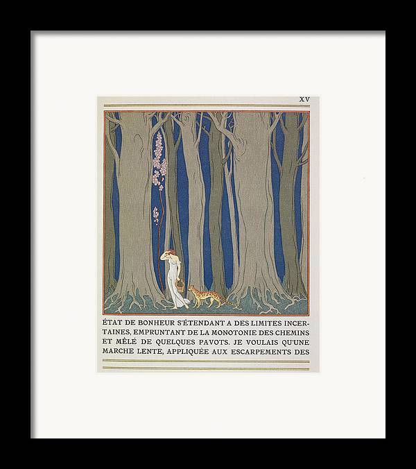 Forest Framed Print featuring the painting Woman Followed By A Leopard by Georges Barbier