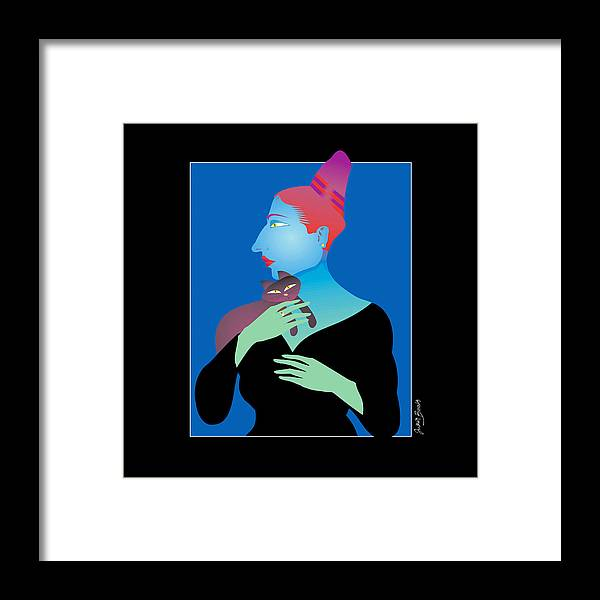 Woman Holding Cat Framed Print featuring the digital art Woman Holding Cat by Judith Barath