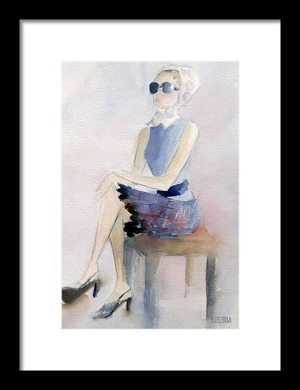 Woman in Plaid Skirt and Big Sunglasses Fashion Illustration Art Print by Beverly Brown Prints