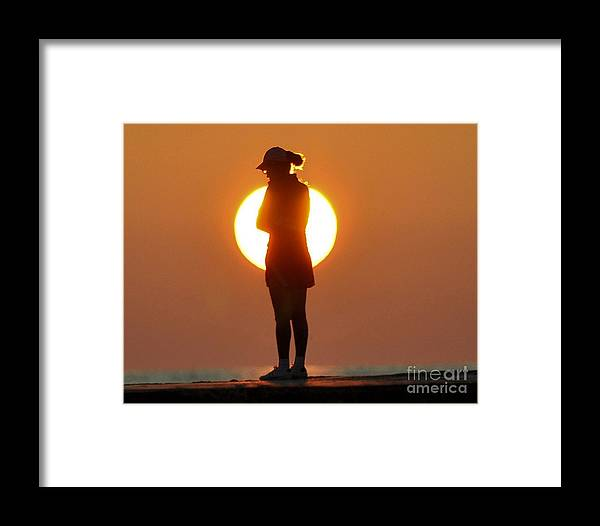Woman Framed Print featuring the photograph Woman In Sunrise by David Call