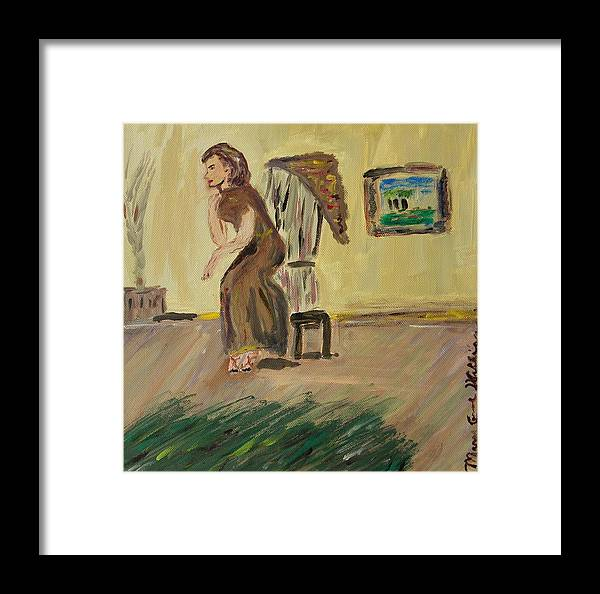 Woman In The Art Gallery Framed Print featuring the painting Woman In The Art Gallery by Mary Carol Williams