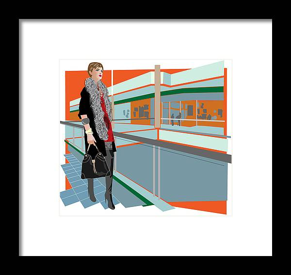 Shopping Framed Print featuring the digital art Woman Shopping by Magpie Grieve