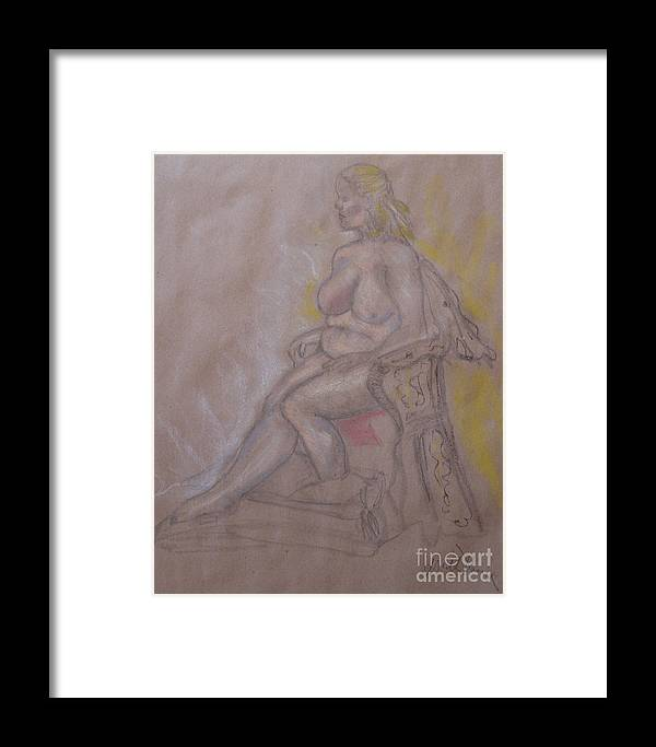 Nude Woman Framed Print featuring the painting Woman Sitting In A Chair by Heather Hennick