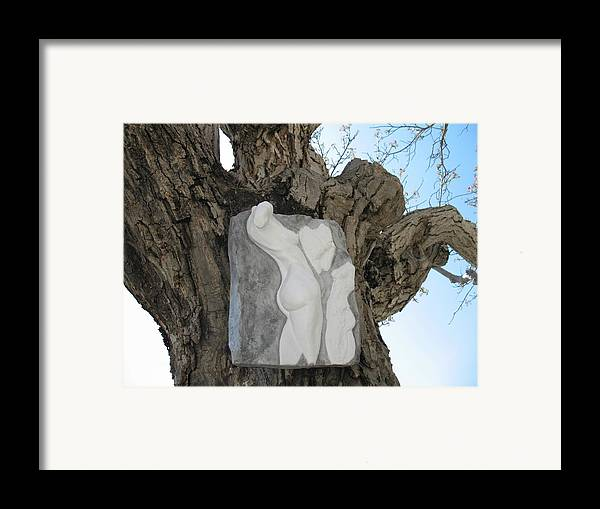 Nude Woman Torso Sculpture Framed Print featuring the relief Woman Torso - Cast 1 by Flow Fitzgerald