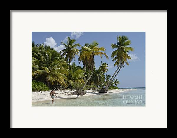 Contemplation Framed Print featuring the photograph Woman Walking By Coconuts Trees On A Pristine Beach by Sami Sarkis