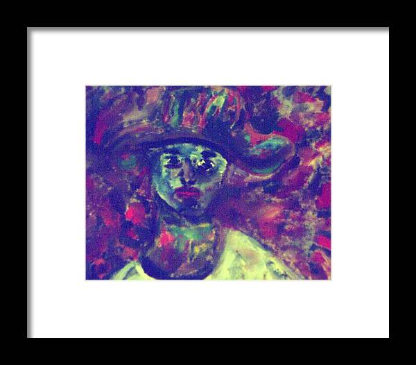 Green Framed Print featuring the painting Woman With A Hat by Shea Holliman
