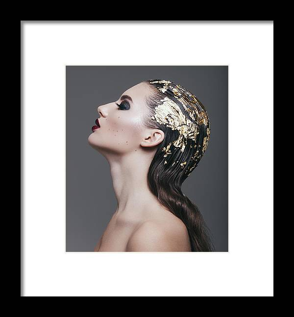 Cool Attitude Framed Print featuring the photograph Woman With Foil Hairstyle by Lambada