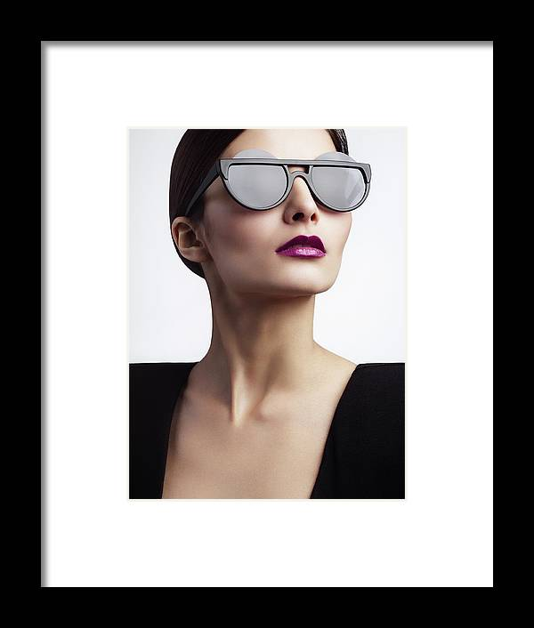 Cool Attitude Framed Print featuring the photograph Woman With Trendy Eyewear by Lambada