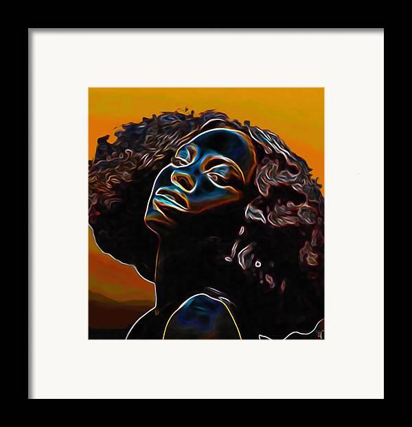 Womans Essence Ii; Essence; Woman; Girl; Female; Face; Hair; Head; Portrait Painting; Figurative Art; Modern Art; Colorful Painting; Contemporary Art; Impressionism Art; Oil On Cnavas; Original Painting; Tradigital Art; Digital Art; Fine Art; Fine Art Print; Fine Art America; Black; Blue; Fli; Orange; Yellow; Brown; Eyes; Nose; Mouth; Lips; Shoulders; Afro; Hairstyle Framed Print featuring the painting Womans Essence II       by Fli Art