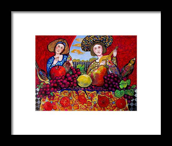 Music Framed Print featuring the painting Women fruit and music by Marilene Sawaf