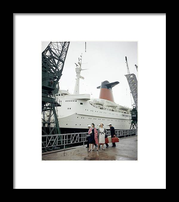 Fashion Framed Print featuring the photograph Women In Front Of The S.s. France by Henry Clarke