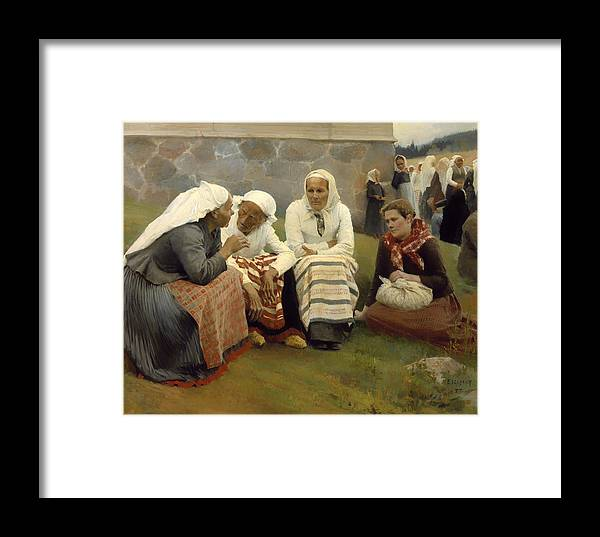 Painting Framed Print featuring the painting Women Outside The Church - Finland by Mountain Dreams