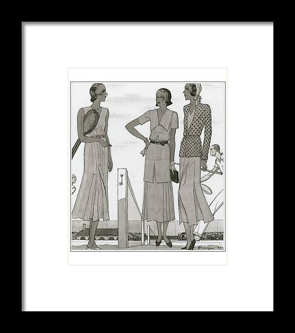 Fashion Framed Print featuring the digital art Women Wearing Designer Dresses by Pierre Mourgue