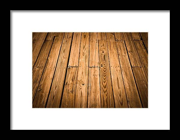 Nature Framed Print featuring the photograph Wood Deck Background by Brandon Bourdages