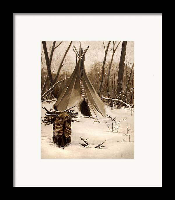 Native American Framed Print featuring the painting Wood Gatherer by Nancy Griswold