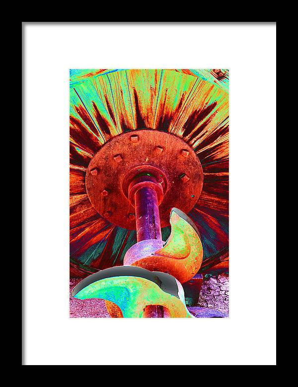 Psychedelic Framed Print featuring the photograph Wood Wheel with Cams by Richard Henne